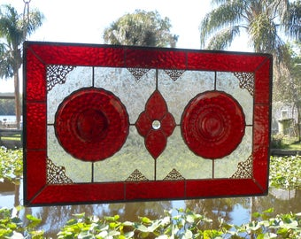 1930 Depression Glass Plate Panel, Ruby Red Bubble Stained Glass Transom Window, Vintage Stained Glass Window Valance, Antique Stained Glass