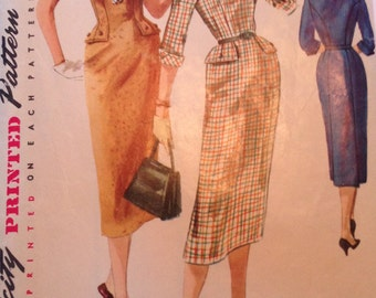 "50s Sexy Scretary Dress Pattern Vintage Simplicity 1340 34"" bust"