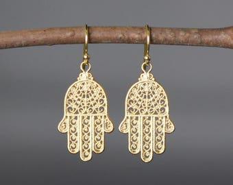 Hamsa Earrings - Hamsa Hand - Hamsa Jewelry - Hand of Fatima - Gold Hamsa - Judaica Jewelry - Hamsa Charms - Bat Mitzvah Gift - Gold Earring