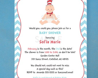 Cat In The Hat Baby Shower Invitations OR Birthday -Printed Invites and comes with envelopes