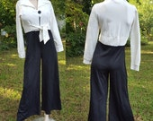 35% OFF Womens 70s Jumsuit / Double Knit Jumpsuit / Black and White Vintage Jumpsuit / 70s Costume by Fredericks Size 10-14