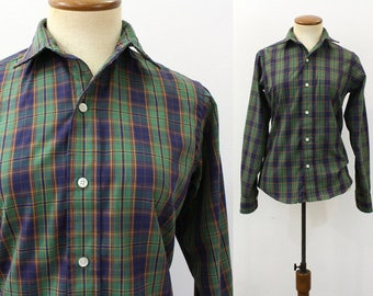 1980s Blouse Button Front Shirt Green Blue Plaid Poplin Collar Preppy Top Up Nancy Wheeler Vintage 80s Stranger Things Retro Lightweight XS
