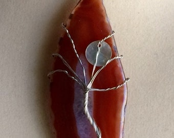 Wire Wrapped Tree of Life Agate Pendant