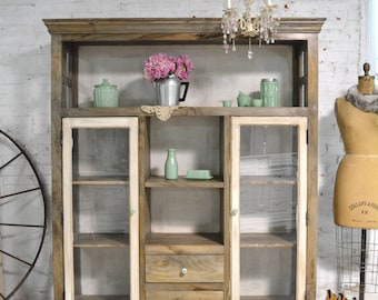 Painted Cottage Chic Shabby Cape Cod Farmhouse Cabinet