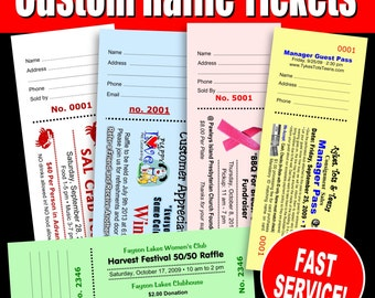 500 Custom Raffle Tickets - Preforated Stub, Numbered & Booked