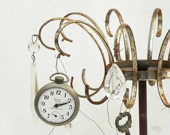 Salvaged Vintage Rusty Metal Crown Chandelier Lamp Parts Repurpose Assemblage Steampunk Craft Supply