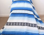 Bold Blue Mexican Style Blanket RESERVED FOR CLAIRE