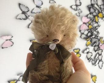 Xmas SALE 4,5 inch Artist Handmade Mohair Pocket Sized Miniature Fluffy Teddy Bear Leo by Sasha Pokrass