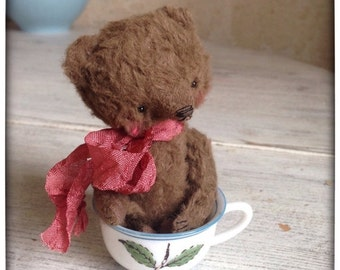 SPRING IS COMING Made To Order 4 inch Artist Handmade Viscose Miniature Pocket Sized Teddy Bear Milo by Sasha Pokrass