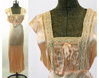 1930s nightgown rayon satin bias cut peach with lace inserts and smocking Art Deco style Size S
