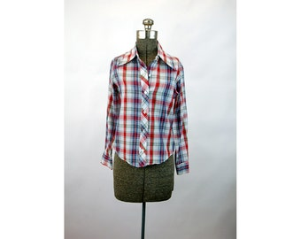 1970s plaid shirt blouse BugOff! western style red white blue Size S/M
