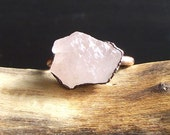 Rose Quartz Copper Ring Rough Stone Jewelry Size 8.5 Raw Crystal Copper Gemstone Ring Artisan Handmade Midwest Alchemy