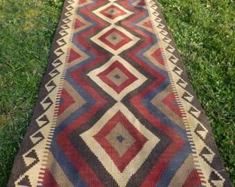 "Extra Long Runner Maimana kilim/rug/carpet. Natural Wool. Handwoven. 12 ft  2"" x 2 ft 8. 372 x 81 cm."