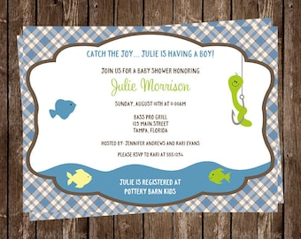 Fishing, Baby Shower, Invitations, Gingham, Sprinkle, Plaid, Blue, Green, Gray,10 Printed Invites, FREE Shipping, Catch the Joy, It's a Boy