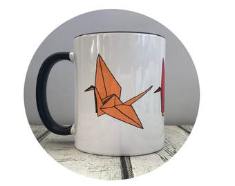 Paper Crane Cup, Origami Crane, Coffee Mug, Sublimated Cup, 11 oz Coffee Cup, 1000 Paper Cranes, Personalized Cup, Coffee Lover Gift Tea Cup