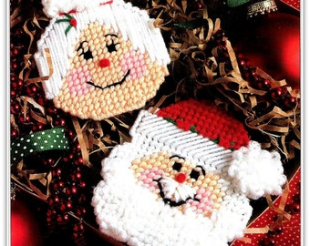 Santa and Ms Claus Ornaments Pattern - Plastic Canvas - Instant Download