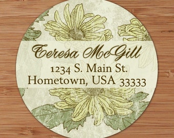 Shabby Sunflower  - Custom Address Labels or Stickers