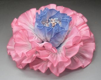 Baby Pink and Blue Ribbon Flower Millinery Applique