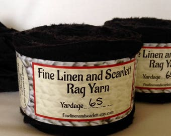 Cotton Rag Yarn, Art Yarn, Bulky Yarn, Jet Black