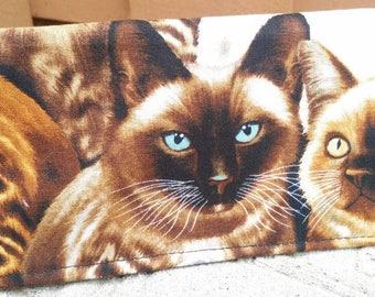 Handmade Fabric Checkbook Cover -    Cats