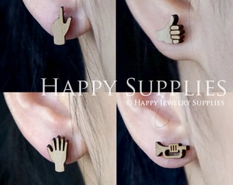 4pcs Mini (SMN151-154) DIY Laser Cut Wooden Earring Charms - SWC Series