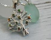 Tree of Life Fire Opal Pendant with Sea Foam Green Sea Glass