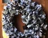 Fabric Scrap Wreath in Black, White, and Grey