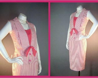 60s suit 1960s PINK WHITE STRIPE hot pink summer 2pc skirt and top suit set
