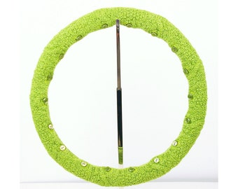 Felted Steering Wheel Cover (Juicy Lime) with Safety Rubber Backing