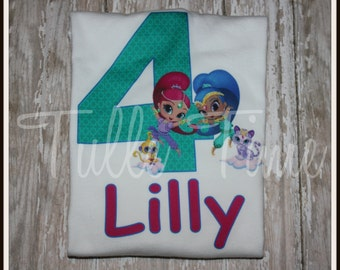 Shimmer and Shine personalized Number birthday top shirt all sizes