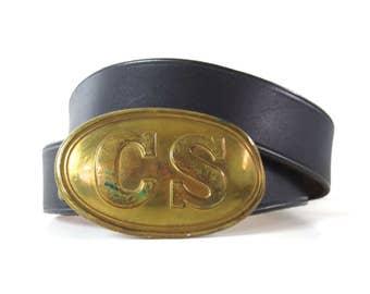 Vintage Brass CS Civil War Buckle // Leather Belt