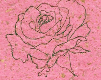 Rose Monotype Print-Edition of 1-Magenta Speckled Romantic Art-8 x 10 inch