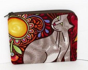Small Zippered Pouch, Cat Folk Feline, Coin Purse