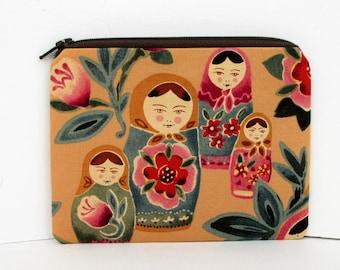 Russian Matryoshka Dolls, Small Zipper Pouch, Coin Purse