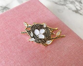 Bird Nest Pin, Soft Enameled Lapel Pin, Collectible Art Jewlery