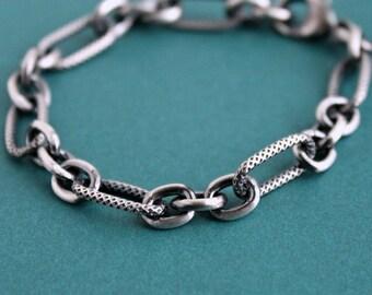 Men's Sterling Silver Chain Bracelet, Long Link Silver Chain Bracelet