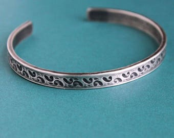 Mens Silver Bracelet, Mens Stamped Cuff, Sterling Silver Bangle
