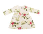 Organic Cotton Christmas Floral Holly Mistletoe Print Baby Girl Long Sleeve Holiday Dress