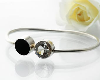 Vintage Sterling Silver Torc Bangle | Sparkling Faceted Crystal Quartz, Glossy Black Onyx | Asymmetrical, Minimal Design - Medium Wrist Size