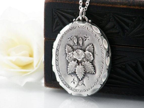 Antique Sterling Silver Locket | Victorian Locket | Applied Roses | 1888 English Hallmarks Large Oval Locket - 30 Inch Long Sterling Chain