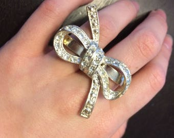 Vintage Bow Shoestring Two  Finger Ring