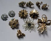 Mixed MidCentury Floral Lot for Repair or Jewelry Craft