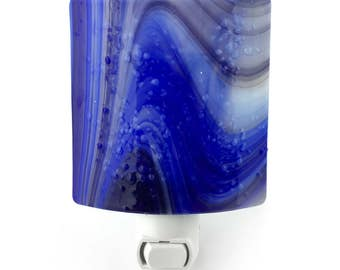 Night Light, Royal Blue Contemporary Art Glass Shade, Plug In