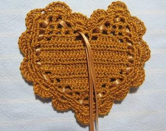 "Gold 4""X4"" Sachet-'Cinnamon Vanilla(type)'Fragrance-Heart Sachet-Hand Crocheted-Herbal-Cotton and Satin-Cindy's Loft-781"