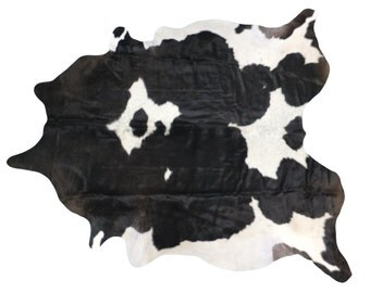 Brazilian Cowhide Fur Rug - Extra Large Black Brown White Real Cowhide - XL Over 8' - SALE