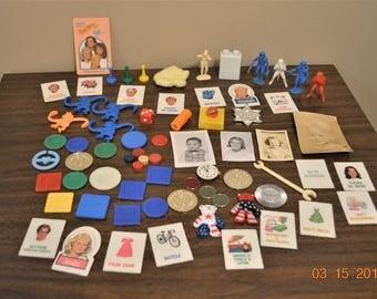 Junk Drawer Lot Destash,Game pieces,Toys,50's Photos,Marx Figures,60's -70's-80's All Vintage paper ephemera