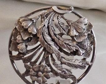 ON SALE Vintage Large Pewter Flower Brooch.  Big Round Floral Pewter Pin.