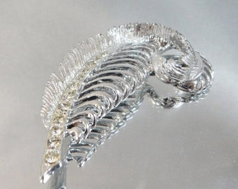 ON SALE Vintage Feather Brooch. Silver Leaf. Rhinestones. Quill.