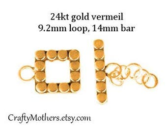 Take 15% off with 15OFF20, 1 SET Bali 24kt Gold Vermeil Square Toggle Clasp, Square Loop 9.2mm (outside), 5mm (inside), 14mm long bar