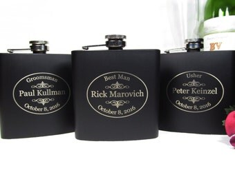 5 Engraved Groomsmen Flasks, Best Man Gift, Personalized Flasks, Engraved Groomsman Flasks, Custom Wedding Party Flask Keepsake OVAL